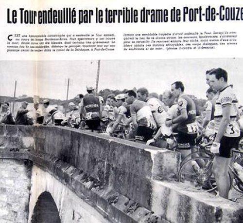 Tour de France 1964: peloton stapt af na fataal ongeluk in Port de Couze tijdens etappe door Dordogne.