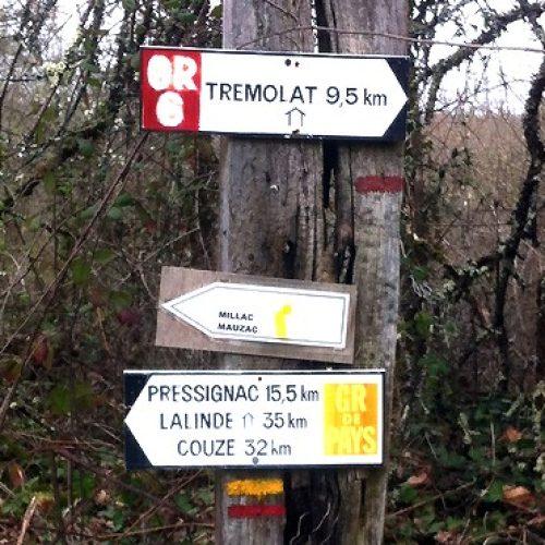 Wandelroute Le Port de Mauzac over de Cingle de Trémolat langs de Dordogne.