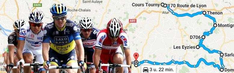Dordogne-Perigord: Tour de France 2017 - parcours etappe Périgueux-Bergerac