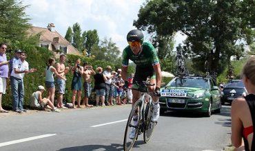 Dordogne-Perigord: Tour de France 2017 - parcours etappe Périgueux-Bergerac. Thomas Voeckler in actie tijdens de tijdrit in 2014 (foto: Dordogne Magazine/John de Graaff).