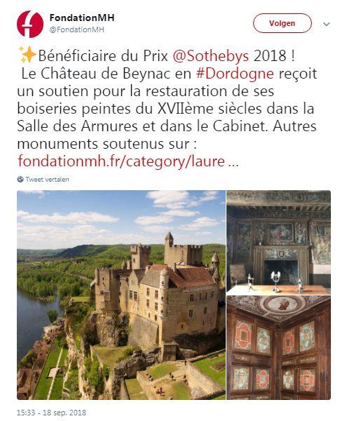 Dordogne-Perigord:  Château de Beynac beloond door Sothebys en Monuments Historiques voor restauratiewerk.