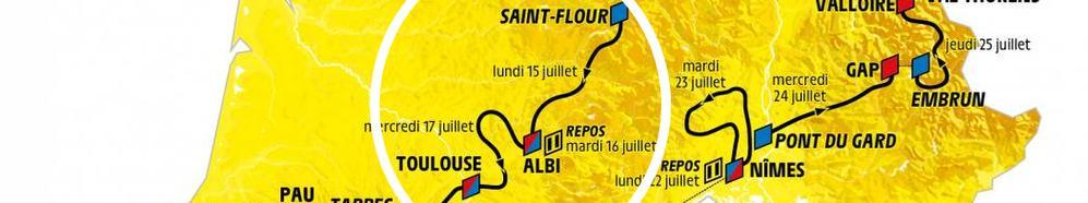 Tour de France 2019 weer niet door Dordogne-Périgord. Overzichtskaart met het tourschema van de etappes in 2019.